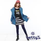 betty's貝蒂思 寬條紋拼接口袋毛質短裙(黑色)