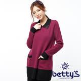 betty's貝蒂思 領口寶石混羊毛長版毛衣(桃紅色)
