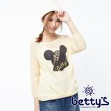 betty's貝蒂思 豹紋金蔥圖案七分袖針織衫(米白色)