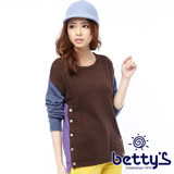 betty's貝蒂思 撞色拼接排釦設計混羊毛毛衣(咖啡色)