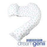 英國Dreamgenii 多功能孕婦枕/哺乳枕/側睡枕(綠灰點點)