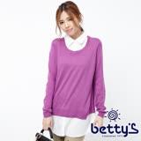 betty's貝蒂思 襯衫拼接設計假兩件針織衫(紫色)