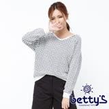 betty's貝蒂思 雙色織紋連帽短版羅紋毛衣(白色)