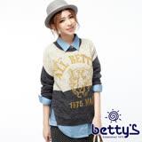betty's貝蒂思 老虎圖案側邊開衩跳色毛衣(卡其色)