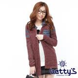 betty's貝蒂思 文字印花單寧拼接針織外套(酒紅色)