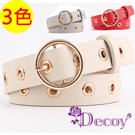 【Decoy】個性圓扣*金屬鏤空粗皮革皮帶/3色可選