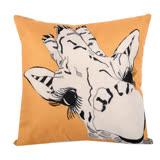 動物家族 棉麻舒適方型抱枕.靠枕 (黃色長頸鹿)
