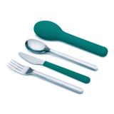 Joseph Joseph英國創意餐廚★翻轉不鏽鋼餐具組(藍綠色)★