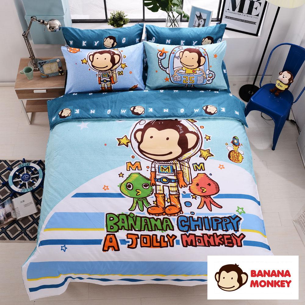 【BANANA MONKEY猴子大王】獨家印花大版面法藍紗雙人加大床包被套四件組-星際奇航