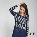 ICHE衣哲 英式撞色格紋印花短版造型針織外套-藍