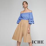 ICHE衣哲 時尚挺版打摺七分造型寬褲裙-駝