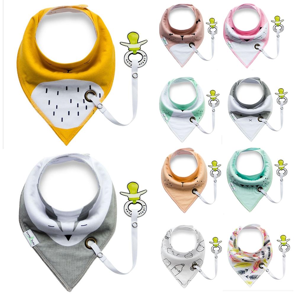 嬰兒奶嘴環三角巾圍兜寶寶雙層口水巾手帕-8件入