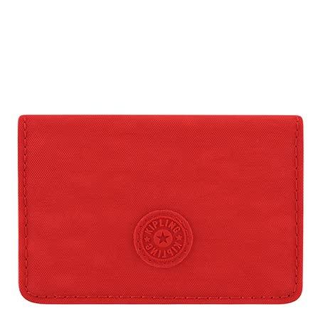 KIPLING 波紋證件名片短夾-番茄紅色