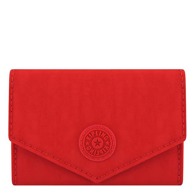 KIPLING 波紋證件名片短夾-辣椒紅色