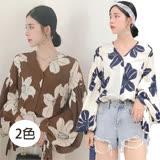 【韓系女衫】現貨-咖花華麗燈爖袖全扣式襯衫