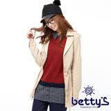betty's貝蒂思 腰間抽繩排釦翻領外套(卡其色)
