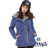 betty's貝蒂思 混色針織拼接鋪棉大衣(藍色)