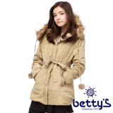 betty's貝蒂思 絨毛連帽腰間綁帶鋪棉大衣(卡其色)