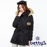 betty's貝蒂思 絨毛連帽腰間綁帶鋪棉大衣(黑色)