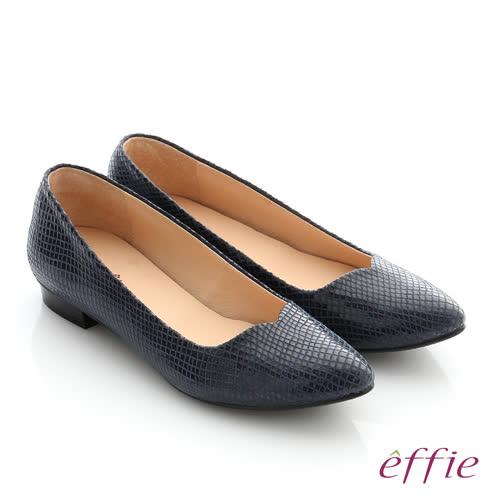 effie 舒適通勤 絨面真皮優雅尖頭平底鞋(深藍)