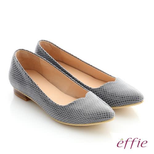 effie 舒適通勤 絨面真皮優雅尖頭平底鞋(灰)