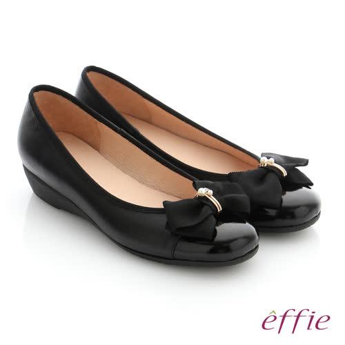 effie 舒適通勤 真皮蝴蝶結彈力圓頭低跟鞋(黑)