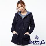 betty's貝蒂思 帽內針織拼接抽繩軍裝大衣(藍色)