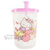 〔小禮堂〕Hello Kitty 附蓋吸管水杯《透明.粉蓋.蘋果.閉眼.趴姿.附把手.250ml》