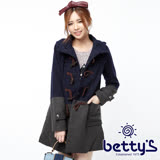 betty's貝蒂思 雙色拼接長版牛角釦大衣(深藍色)
