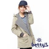 betty's貝蒂思 立體設計拼接翻領連帽大衣(卡其綠)