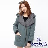 betty's貝蒂思 立體設計拼接翻領連帽大衣(深綠色)