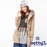 betty's貝蒂思 條紋拼接腰際鬆緊連帽大衣(駝色)