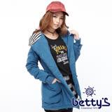 betty's貝蒂思 條紋拼接腰際鬆緊連帽大衣(藍色)