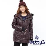 betty's貝蒂思 亮面圓點刷毛連帽鋪棉大衣(深棗紅)