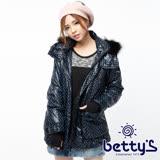 betty's貝蒂思 亮面圓點刷毛連帽鋪棉大衣(深藍)