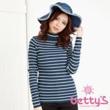 betty's貝蒂思 條紋領口反摺花邊針織衫(深藍)