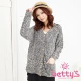betty's貝蒂思 混毛球澎澎毛針織外套(混深藍)