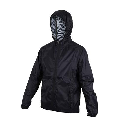 (男) SOFO 抗UV防風連帽外套-慢跑 路跑 黑
