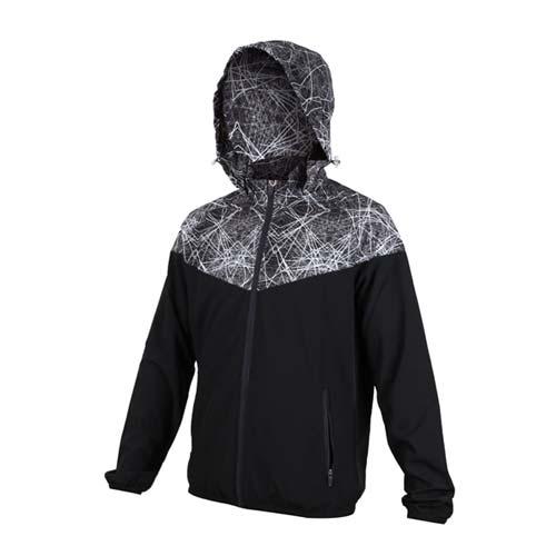 (男) SOFO 彈力布外套-連帽外套 慢跑 路跑 黑白