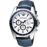 Emporio Armani Classic 雅爵計時錶-白x藍/44mm AR6096