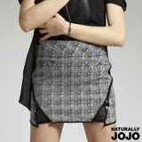 【NATURALLY JOJO】特殊剪裁拉鍊短裙(黑白格紋)