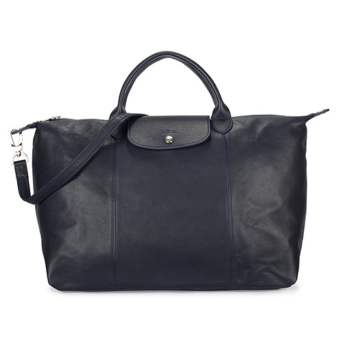 Longchamp Le Pliage Cuir小羊皮短把折疊大型水餃包-深藍色