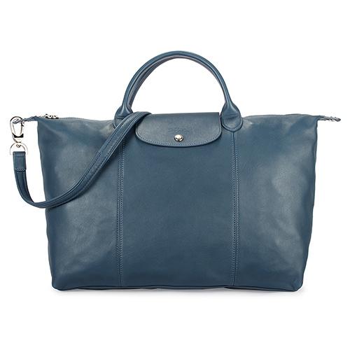 Longchamp Le Pliage Cuir小羊皮短把折疊大型水餃包-藍色