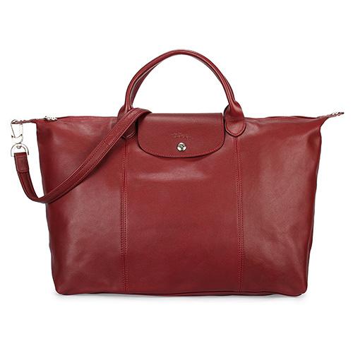 Longchamp Le Pliage Cuir小羊皮短把折疊大型水餃包-紅色