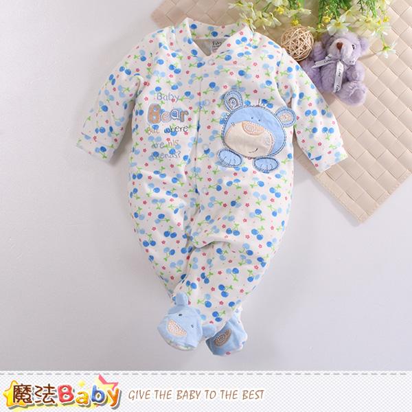 魔法Baby 包腳連身衣 法國設計細絲絨包屁衣 k60409