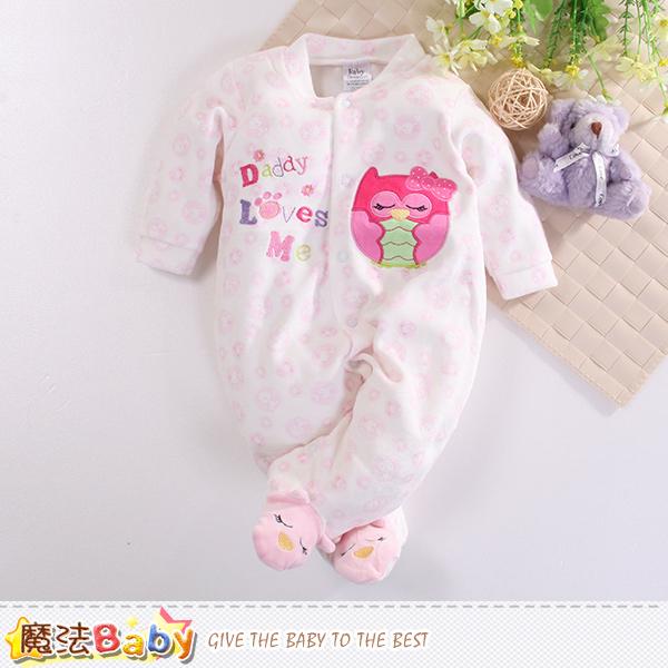 魔法Baby 包腳連身衣 法國設計細絲絨包屁衣 k60410