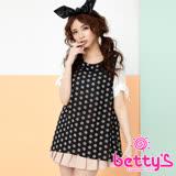 betty's貝蒂思 設計圓點透視拼接雪紡上衣(黑色)