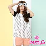 betty's貝蒂思 設計圓點透視拼接雪紡上衣(白色)