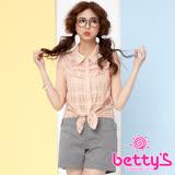 betty's貝蒂思 層次打褶蕾絲荷葉無袖襯衫(粉桔)