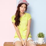 betty's貝蒂思 文字刺繡簍空洞洞針織衫(黃綠)